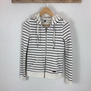 Roxy navy and cream striped terry hoodie